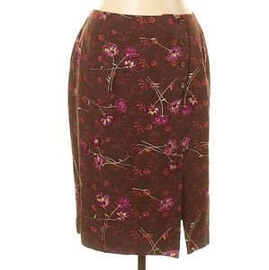 Brown Embroidered Floral Pencil Knee High Skirt